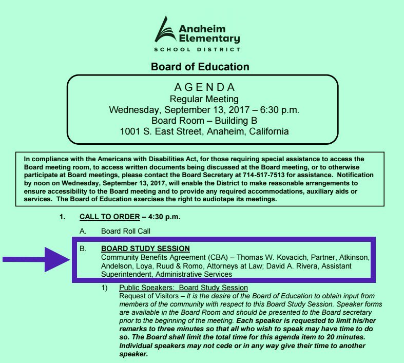 Anaheim Elementary School District Has Study Session Today on Project Labor Agreement