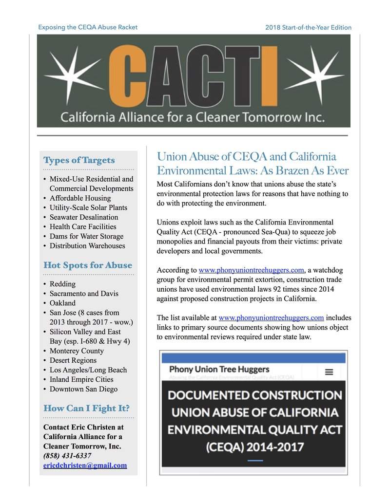 CACTI Newsletter 2018 Start-of-the-Year Edition - Union CEQA Abuse page 1