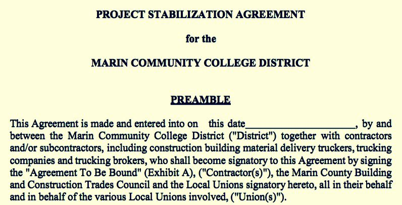 Super-Speedy Project Labor Agreement Negotiations Done for College of Marin: Board Vote on April 18
