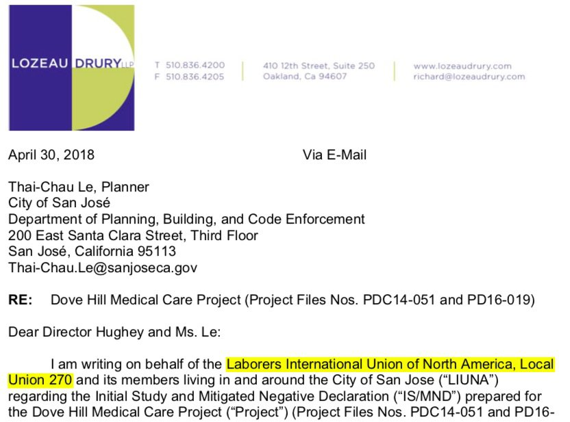 CFEC Asks San Jose City Council to Expose Union Abuse of CEQA Against Dove Hill Medical Facility