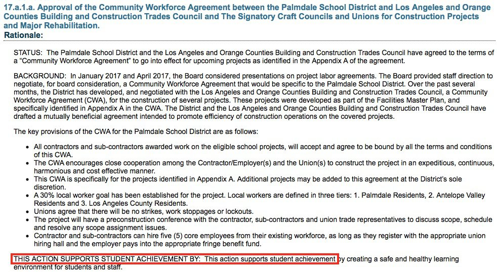 Palmdale School District Fulfills Their Promise...to Construction Unions