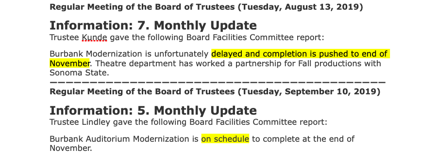 Why Has Santa Rosa Junior College Wrong Portrayed Its Burbank Auditorium Modernization Project as On Schedule?
