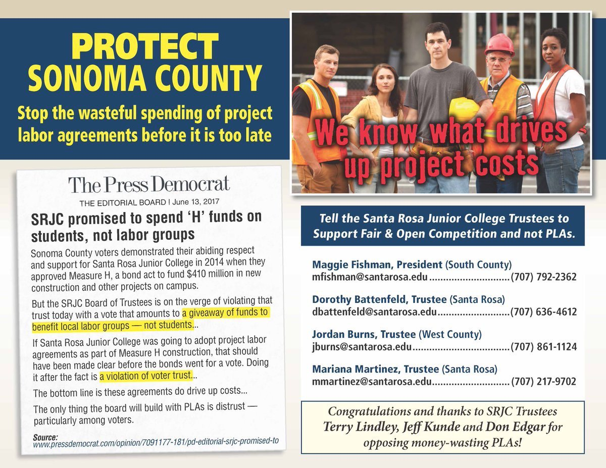 Vote Is Today on Project Labor Agreement at Santa Rosa Junior College (in Sonoma County)