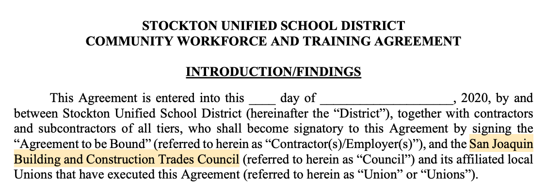 Stockton Unified School District to Impose Project Labor Agreement on Contractors